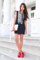 red Zara heels - black Winter Kate dress - white 31 Phillip Lim bag