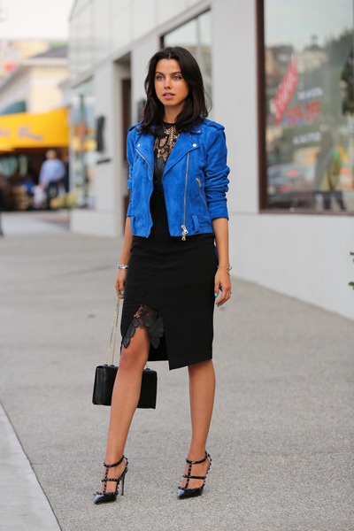 blue Club Monaco jacket - black Style Stalker dress - black Valentino heels