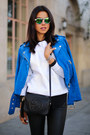 Black-saint-laurent-boots-blue-club-monaco-jacket-green-illesteva-sunglasses