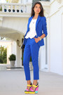 Blue-aqua-suit-white-river-island-blouse-yellow-giuseppe-zanotti-wedges