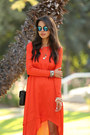 Red-bcbg-dress-blue-free-people-sunglasses-black-alexander-wang-heels