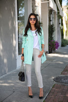 light blue TART Collections coat - white Zara jeans - black Rebecca Minkoff bag