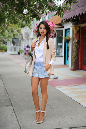 light pink Truth & Pride blazer - white Milly for Banana Republic shirt