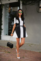 white Zara heels - black Finders Keepers dress - black armani bag