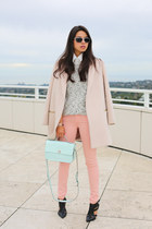 black shoemint heels - light pink McGinn coat - white Theory sweater