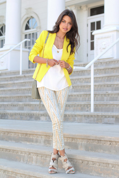 yellow Theory blazer - cream free people jeans - lime green Rebecca Minkoff bag