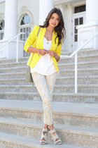 yellow Theory blazer - cream free people jeans - lime green Rebecca Minkoff bag