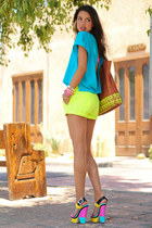 camel Rebecca Minkoff bag - yellow J Crew shorts