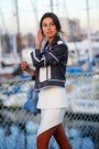 Navy-dvf-jacket-sky-blue-alice-and-olivia-bag-white-cameo-skirt