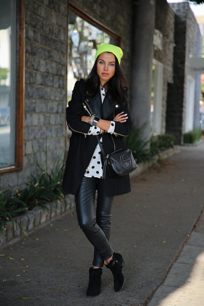 black Barbara Bui boots - black Juicy Couture coat - yellow Forever 21 hat