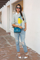 heather gray J Crew sweater - periwinkle free people jeans - teal Zara bag