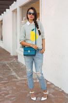 heather gray J Crew sweater - periwinkle free people jeans - teal Zara bag