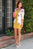 white Zara blazer - mustard Opportuno dress - coral ann taylor bag