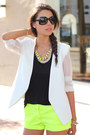 White-minusey-blazer-yellow-j-crew-shorts-black-pink-pepper-heels