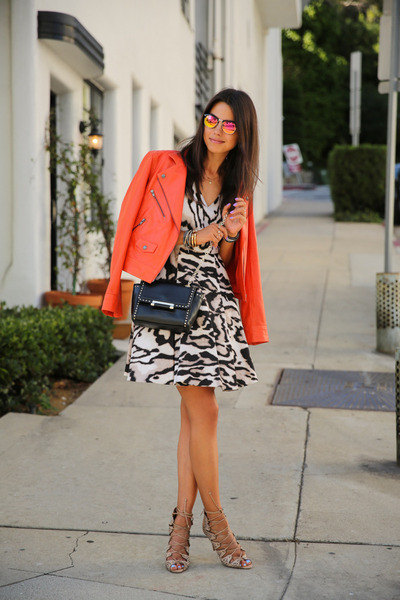 carrot orange Truth & Pride jacket - camel dvf dress - black dvf bag