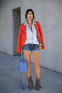 Carrot-orange-truth-pride-jacket-periwinkle-alice-olivia-bag