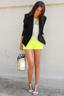 Black-helmut-lang-blazer-yellow-jcrew-shorts-white-zara-heels