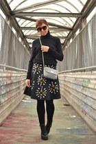 black neoprene Sheinsidecom skirt - black H&M sweater - silver FASHIONTAG bag