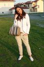 White-zara-blazer-white-h-m-top-beige-zara-pants-brown-vintage-belt-beig
