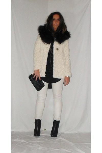 beige Zara coat - black Zara shirt - beige met pants - black silvian heach boots