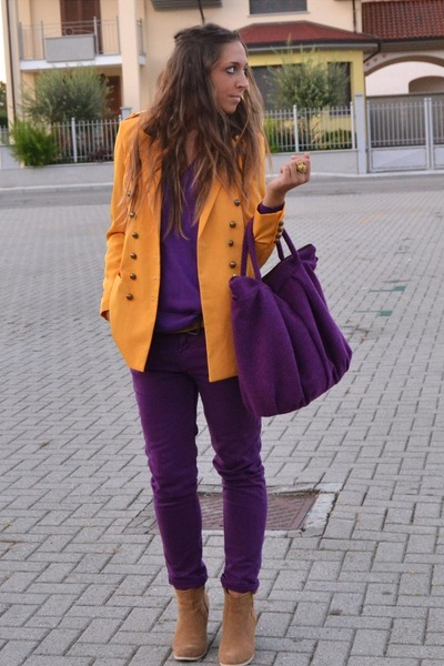 mustard senape blazer romwe blazer - camel boots asos boots