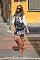 blue Zara jacket - brown no brand boots - blue Zara dress - blue no brand purse