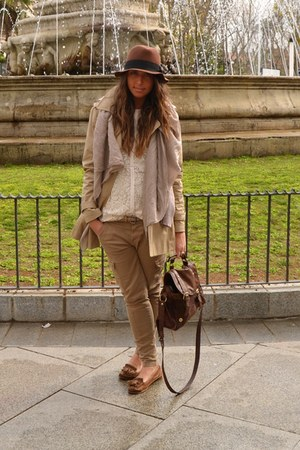 brown zara trench coat - brown hm hat hat - ivory zara shirt shirt