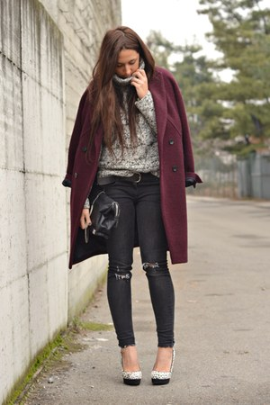 crimson H&M coat - white Chinese Laundry shoes - gray H&M jeans