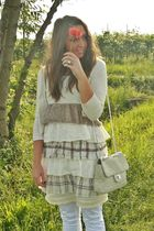 beige H&M cardigan - beige made in italy dress - white take-two jeans - beige vi
