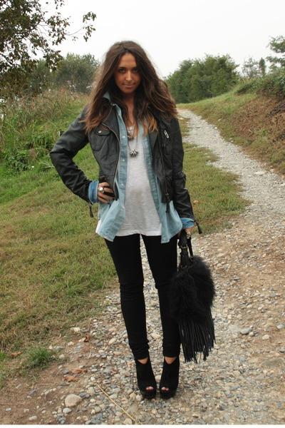 blue boyfriend shirt H&M Man shirt - black wedges asos boots