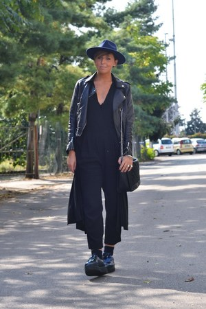 black H&M jacket - navy Private shoes - navy fashiontagit hat