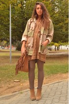 brown Zara bag - camel asos boots - bronze H&M dress - dark khaki vintage jacket