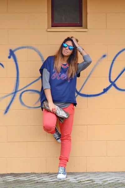 blue Topshop shoes - navy Zara sweater - camel MIABAG bag