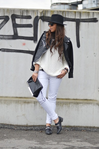 black Bershka shoes - white met jeans - black Zara hat - black romwe jacket
