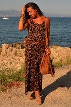 bronze maxi-dress H&M dress - bronze fringe bag Zara bag