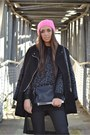 Black-mango-boots-bubble-gum-h-m-hat-black-romwe-jacket