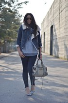 heather gray romwe jacket - silver Zara shoes - gray Zara jeans