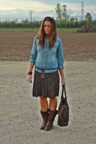 blue H&M shirt - brown vintage skirt - brown no brand boots - brown vintage purs