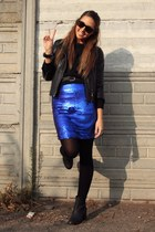 blue skirt Zara skirt - black boots H&M boots - black leather jacket Zara jacket