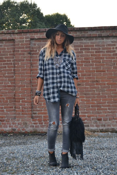 heather gray Zara jeans - black Cheap Monday boots - black H&M hat