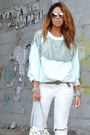 Light-blue-h-m-sweatshirt-white-miabag-bag-silver-made-in-italy-belt
