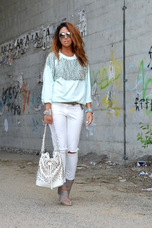light blue H&M sweatshirt - white MIABAG bag - silver made in italy belt