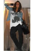 H&M shirt - Zara t-shirt - Zara jeans - no brand boots - H&M accessories