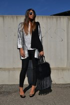 silver coat H&M coat - black bag REPLAY bag - black coating pants Zara pants