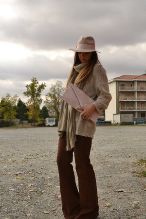 eggshell hat Topshop hat - camel boots asos boots - camel pullover H&M sweater