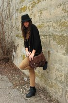 black H&M shirt - dark brown asos bag - bronze Zara leggings - black River Islan