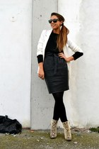 black leather skirt H&M skirt - off white boots Zara boots