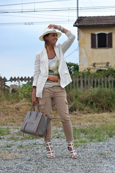 cream H&M blazer - white H&M Man hat - heather gray Celine bag
