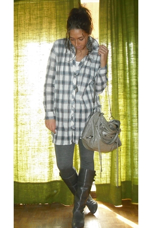 Zara blouse - matilde leggings - Zara boots - H&M accessories - balenciaga purse