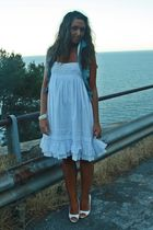 blue H&M shirt - white silvian heach dress - white no brand shoes - white no bra